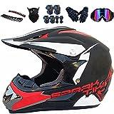 Casco de motocross para niños, casco de motocross Downhill, con equipo de protección, unisex, homologación D.O.T, para niños y adultos, BMX MTB (XL 60-61 cm)