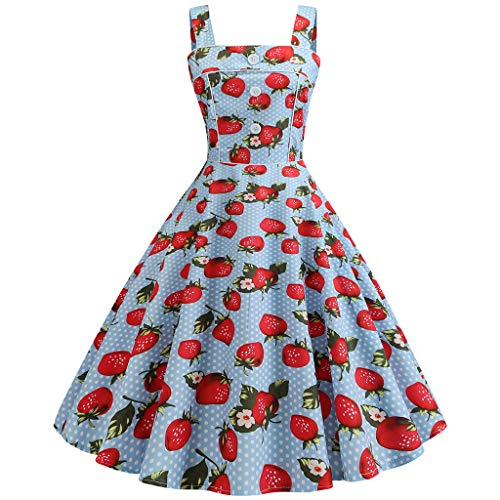 FRAUIT Vintage jaren 50-jurk zonder mouwen cocktailjurk riempje print avondfeest galajurk kanten jurk knielange rockabilly jurk kers-aardbei-print taillejurk, hemelsblauw, XL