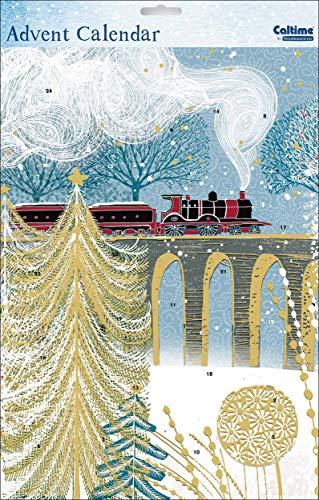 Calendario de Adviento de Navidad (WDM418624) – Train – de la gama Caltime – barniz con purpurina