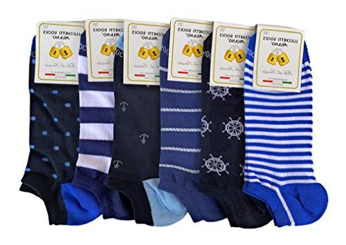 Lucchetti Socks Milano 6 pares de calcetines de hombre de algodón multicolor con estampado de hilo de Escocia fabricados en Italia Set Amerigo Talla unica)
