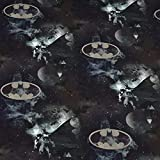 Jersey Stoff Batman, schwarz, blau, grau (50cm x 150cm)