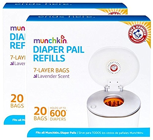Munchkin Arm & Hammer Diaper Pail Refill Bags, 2 x 20 Bags