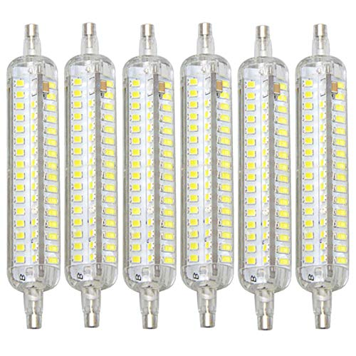 LIBAI R7S LED 118Mm Dimmable, Cool White 6500K 15W 1500 Lumens 164 2835SMD 360°1500LM AC 110-220V Double-Ended Silicone Corn Lights for Spotlights, 6 Packs