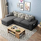 Furny Berlando Fabric 4 Seater LHS L Shape Sofa Set (Dark Grey)
