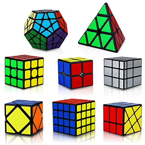 KidsPark Cube Set 8 Pack 3D Puzzle 2x2 + 3x3 + 4x4 + Pyraminx + Megaminx + Mirror + Skewb + Fenghuolun Speed Cube Magic Toys for Children & Adults, PVC Sticker Black
