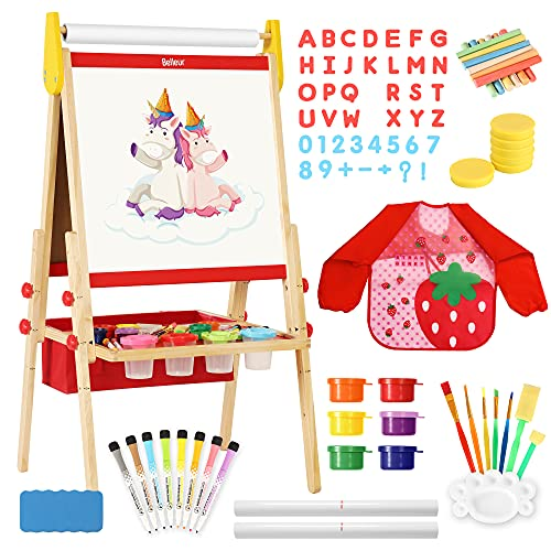 Belleur All-in-one Kid Easel Including 2 Paper Rolls, Magnetic Letters, 6 Finger Paints, 8 Colors Markers, Deluxe Standing Art Easel with Magnetic Chalkboard & Whiteboard, Easy to Adjust Height - Red