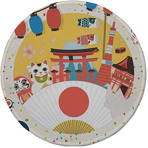 Rutschfreies Gummi-Rundmaus-Pad Laterne japanisch inspiriertes Handelsmuster Verschiedene asiatische Kulturartikel Cool Cat Origami mehrfarbig 7.9