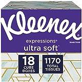 Kleenex Expressions Ultra Soft Facial Tissues, 18 Cube Boxes, 65 Tissues per Box (1, 170 Total Tissues)