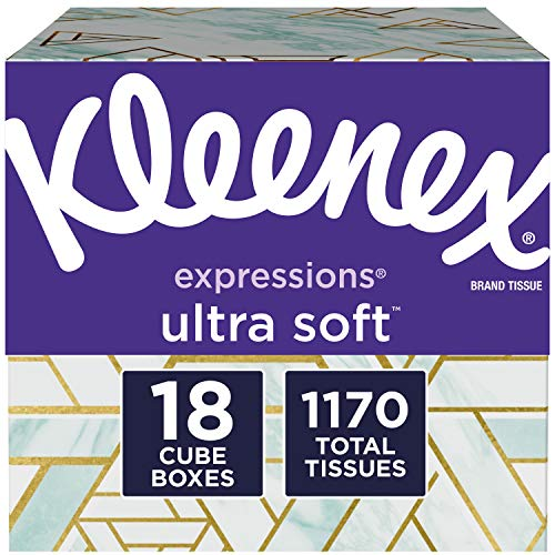 Kleenex Expressions Ultra Soft Facial Tissues 18 Cube Boxes 65 Tissues per Box 1170 Tissues Total