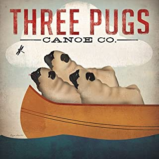 Three Pugs in a Canoe by Ryan Fowler Vintage Ads Animals Dogs Pets Print Poster 12x12