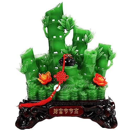 Feng Shui Happiness Jade Bamboo e Denaro rospo rospo Statua, Statua di Resina Artificiale Statua di Giada Decorazione Domestica Accessori Bamboo Scultura Statue Ornamento Fortuna