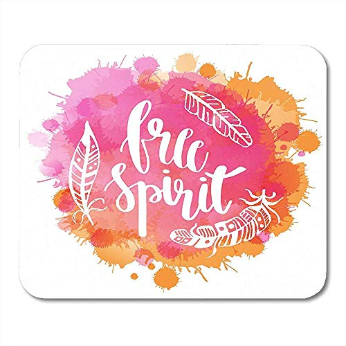 Mouse Pads Boho Lettering Quotes and Free Spirit Phrase Feathers on Watercolor Imitation for Tsirt Mouse pad Mats 25 X 30 CM