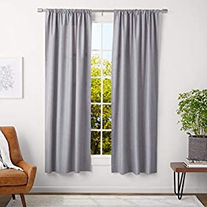 AmazonBasics – Barra de cortina con terminales cilíndricos, 3cm de diámetro, longitud ajustable de 91 a 183cm, níquel