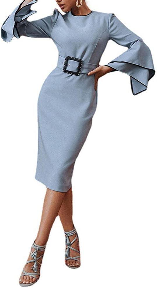 Women Office Corset Dress Long Flared Sleeve Round Neck OL Work Back Split Bodycon Midi Dress-Blue_XL