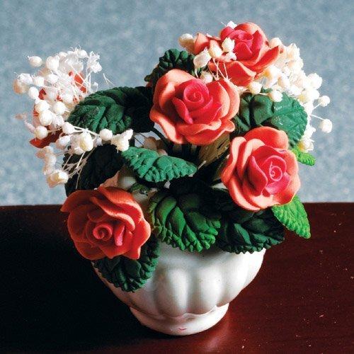 The Dolls House Emporium Pêche Rose Arrangement en Vase