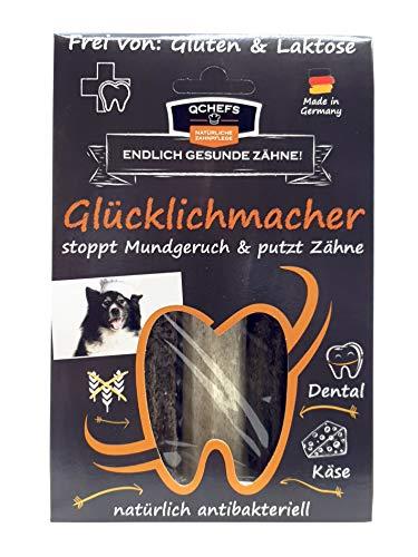 Qchefs Glücklichmacher|Hunde Zahnpflege-Snack|Kauknochen groß|Knochen gegen Mundgeruch & Zahnfleischentzündung|Zahnsteinentferner|Hundeleckerlie| Kauartikel|Hüttenkäse - natürlich antibakteriell