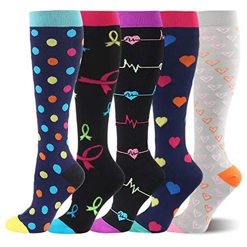 Kompressionsstrümpfe Sneaker Socken Herren Damen Laufsocken Sprunggelenkschutz und Mittelfußstütze für Laufen Radfahren Erholung Blutzirkulation, 5 Paar- C Mehrfarbig, S-M