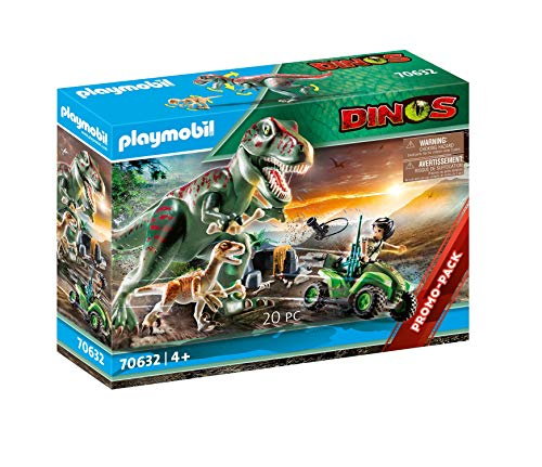Playmobil 70632 Dinos T-Rex Attack with Raptor and Quad, for Children Ages 4+