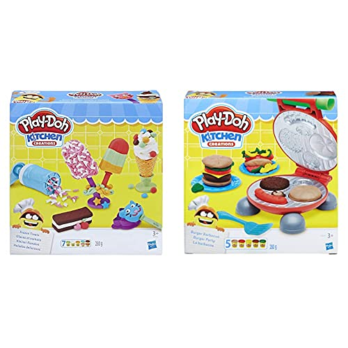 Hasbro Play-Doh-B5521Eu6 Gioco Kitchen Creations Il Burger Set, Colore, 0816B5521Eu6 & Play-Doh Gelati E Ghiaccioli, Multicolore, E0042Eu4