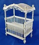 Town Square Miniatures Miniatura Para Casa De Muñecas 1:12 Escala Guardería Bebé Muebles Madera Blanca Pabellón CUNA
