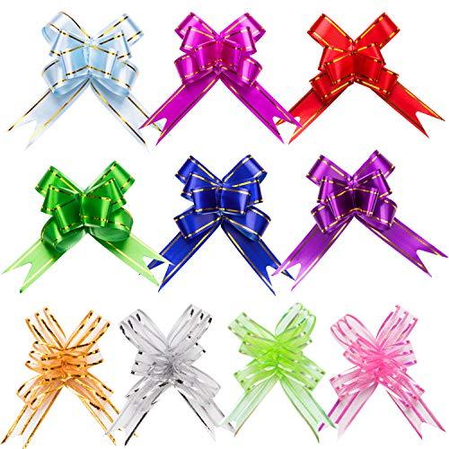 LUTER Nastri Decorativi daRegalo Pull Bows Fiocchi RegaloNatale Gift Wrap Ribbon per Confezioni Regalo, Decorazioni Natalizie, Compleanni, Matrimoni, Feste, Creazione(100 Pezzi)