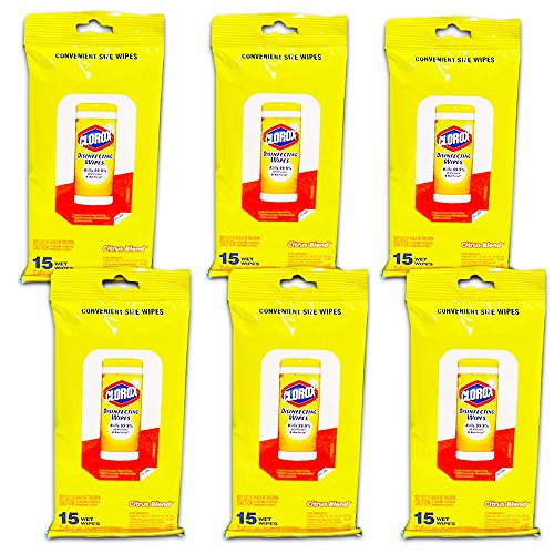 Clorox Cleaning Wipes - 90 Count - Resealable Package - Citrus Scent (6 To Go Packs)