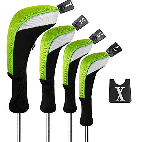Andux Golf 460cc Driver Wood Head Cover mit langem Hals und austauschbaren Nummernschildern, 4 Stück, grün