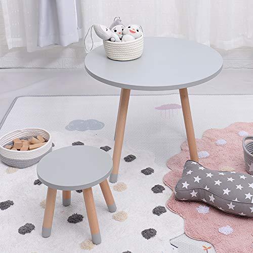 juego de mesa y silla Mesa Redonda para niños Silla Redonda (una Mesa y una Silla) Madera Maciza para niños, Silla de Mesa de Escritura para Juegos de jardín de Infantes