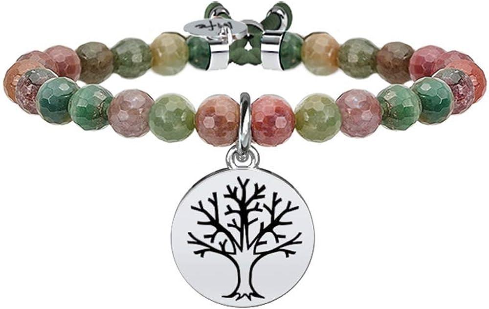 Kidult,bracciale per donna, elastico con sfere sfaccettate in diaspro e ciondolo albero della vita in acciaio. 731121