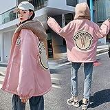 yuanyuanliu Chaqueta Suéter Más Grueso Uniforme De Béisbol Terciopelo (Color : Pink, Size : X-Large)