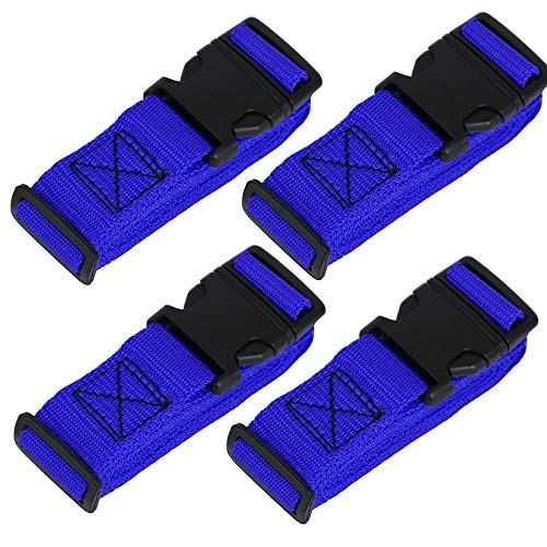 XSTRAP 4 Piece Luggage Strap 72' x 1' Utility Strap with Quick-Release Buckle (Blue)