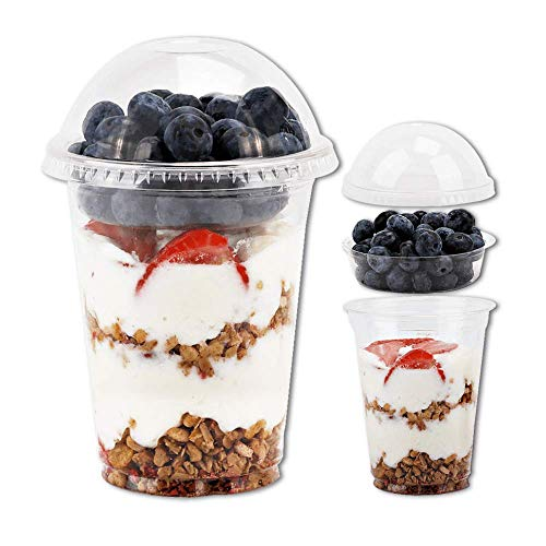12 oz Clear Plastic Parfait Cups with Insert 3.25oz & Dome Lids No Hole - (50 Sets) Yogurt Fruit Parfait Cups for Kids, for Dips and Veggies, Take Away Breakfast and Snacks. No Leaking