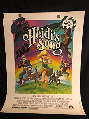 Heidi's Song 1982 Original Vintage 30x40 Movie Poster, Cartoon, Hanna Barbera, Sammy Davis Jr, Rat Pack