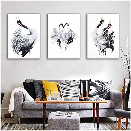 zeo Qi Lin Zou Leinwand-Malerei Gedruckte Bilder Home Wandkunst Modulare Poster 3 Panels Hd Schwarz-Weiß-Kranich-Gemälde auf Leinwand Wohnzimmer Dekorativ (ohne Rahmen) 40x60cmx3psc