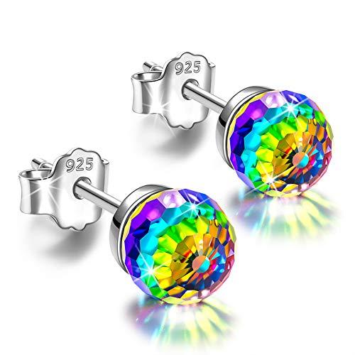 Alex Perry 6mm Ohrringe Silber 925 Geschenke für Frauen Kristall Ohrstecker für Mädchen Geschenk Regenbogen Schmuck Valentinstag Weihnachten Muttertag Geschenke für Mama Damen sie Geburtstagsgeschenke