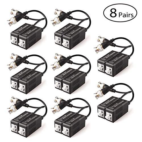 Faittoo Transceptor Pasivo de vídeo Balun | 8 Pares (16 Piezas) | Cable para 1080p TVI/CVI/TVI/AHD/960H DVR Cámara CCTV sistema | Macho BNC a UTP Cat5/5e/6 cable/6E | No requiere alimentación