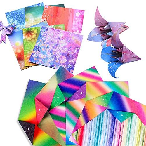 SENDILI Papel de Origami - 100 Hojas de Papel Origami a Doble cara Diseños Vibrantes de Hermosos Espacios Exteriores de la Galaxia y Temas de Constelaciones(15x15cm)
