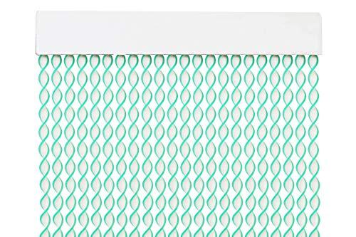 MERCURY TEXTIL Cortina para Puerta Tiras PVC 200x90cm,Cortina para Puerta Exterior,10 Color (Blanco+Filo Verde)