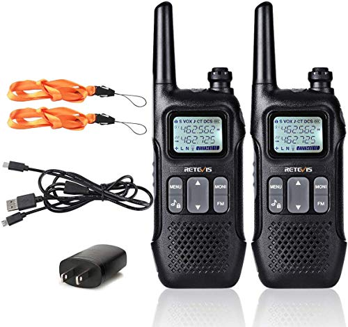 Retevis RT16 Walkie Talkie for Adults,Long Range Rechargeable Two Way Radios,NOAA Emergency VOX 22 CH 10 Call Tone USB Charging,for Camping Hiking Cruise Ship(2 Pack)