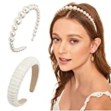 2Pack Pearl Headbands for Women Padded Lined White Fashion Head Band Elegant Wedding Wide Hairbands Suit Women and Girl Workout,Yoga,and Daily Life Valentines Day Gifts