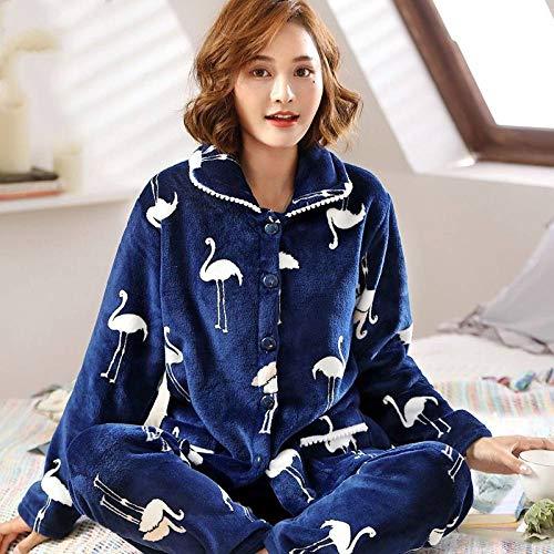 Conjunto De Pijamas Para Mujeres,Invierno Azul De La Grúa Coral Polar Pijama Conjunto Espesamente Caliente Suave Franela Homewear Ropa De Dormir Manga Larga Cárdigan Más Tamaño Pijamas Conjuntos M