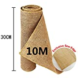 TtS 10Mx30cm Rouleau Jute Chemin de Table Ruban Vintage Rustique Sewed Edge Artisanat...