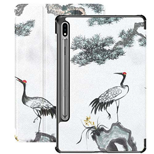 Red-Crowned Crane White Feathers Funda para Samsung Galaxy Tab S7 Plus para Samsung Galaxy Tab S7 / s7 Plus Funda para Samsung Galaxy Tab E con Soporte Funda Trasera Galaxy Tab S7 Plus Funda 2020 par