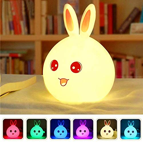 Luz Nocturna Infantil Recargable LED Mesilla de Noche Lámpara de Silicona y Portátil con Luces de Colores para Bebé Niños Niñas, Dormitorio y Guardería Decoración Rosa