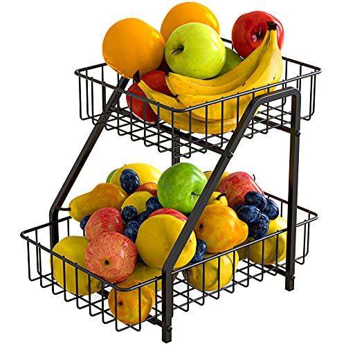 MaraFansie 2-Tier Fruit Basket Countertop Fruit Bowl Bread Basket Vegetable Holder Storage Stand, Black