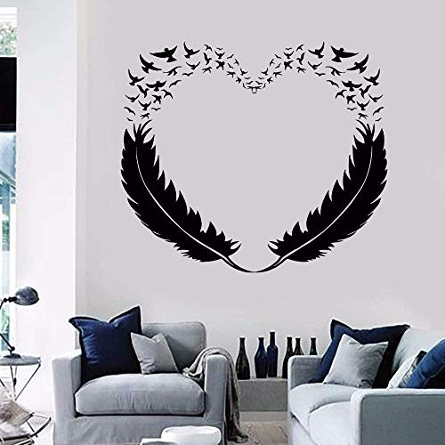 Feather Bird Love Decoración Vinilo Dormitorio Romántico Decoración interior Mural Papel pintado impermeable 58x50cm arte Etiqueta de la pared,Calcomanía extraíble,póster impermeable,decoración del ho
