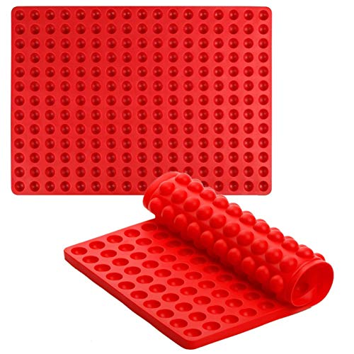 Silicone Baking Mat Cooking Sheets for Pet Dog Cat 2 pc Baking Molds Non-stick Fat Reducing Mats for Healthy Cooking (221 cavity, Red)