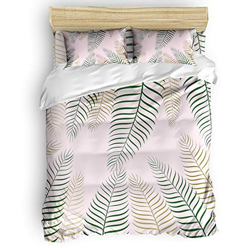 Amaze-Home Tropical Plants 4 Pieces Bedding Sets Full Flannel Duvet Cover Sheet Bedspread with 2 Decorative Pillow Shams for Bedroom Dorm Hotel Green Leaves
