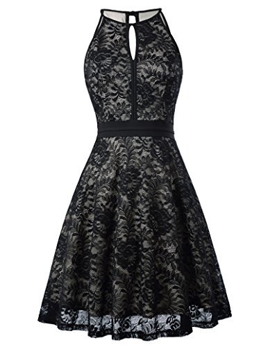 Women Sleeveless Lace Halter Black Night Out Formal Dress KK638-1 S