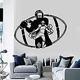 Rfokun Sport Wandtattoo American Football Spieler Team Spiel Ball Fan Schlafzimmer Home Decor Türen und Fenster Vinyl Sticker Art Wallpaper 54x74cm